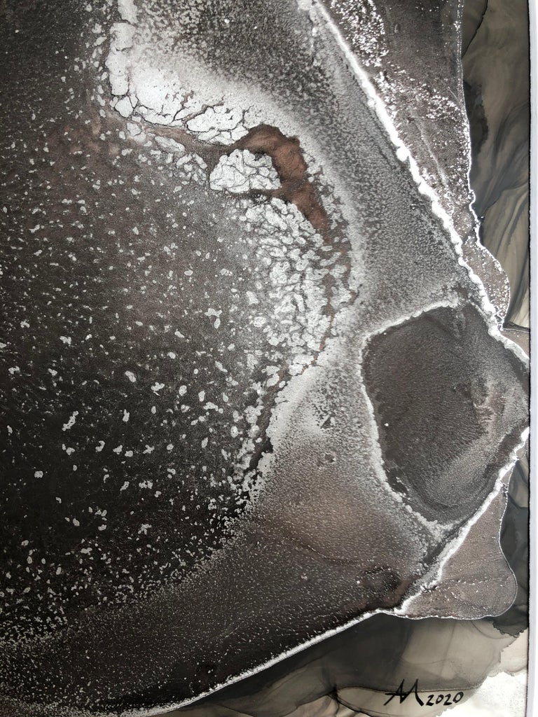 Luminescence-abstraction art, made in black, silver, grey, pale pink color - Painting by Mila Akopova