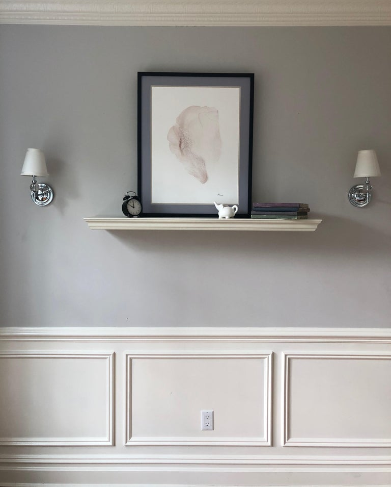 Interior design paintings. The work was done with acrylic in light rose, sand color on Yupo paper. The work is 20 by 26 inches in size, framed in fine-quality solid wood with a styrene face on a double mat board in beige or grey with sizes 24 by 30