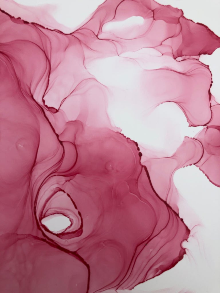 Flowers-abstraction art, made in pale pink, light blue, rose colored - Black Abstract Painting by Mila Akopova