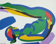 Gymnastics (nude Female body)- abstract made in green, blue, yellow, red, purple