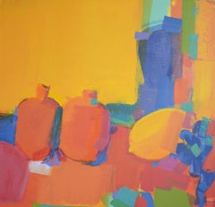 Oriental still-life - abstract painting, made in yellow, orange, red, blue color