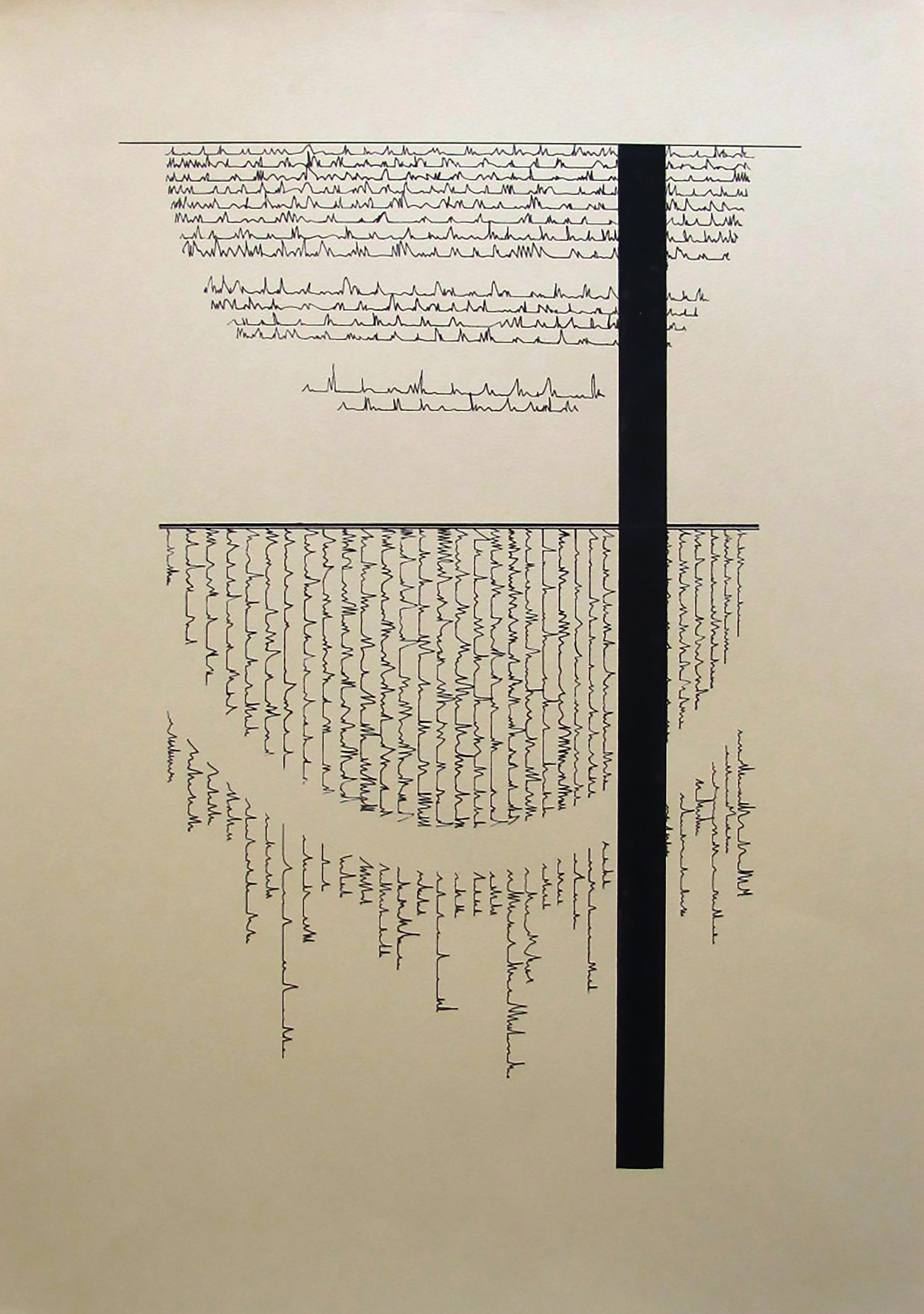 Serie II number 5-combination of minimalism geometric draw and abstract writing