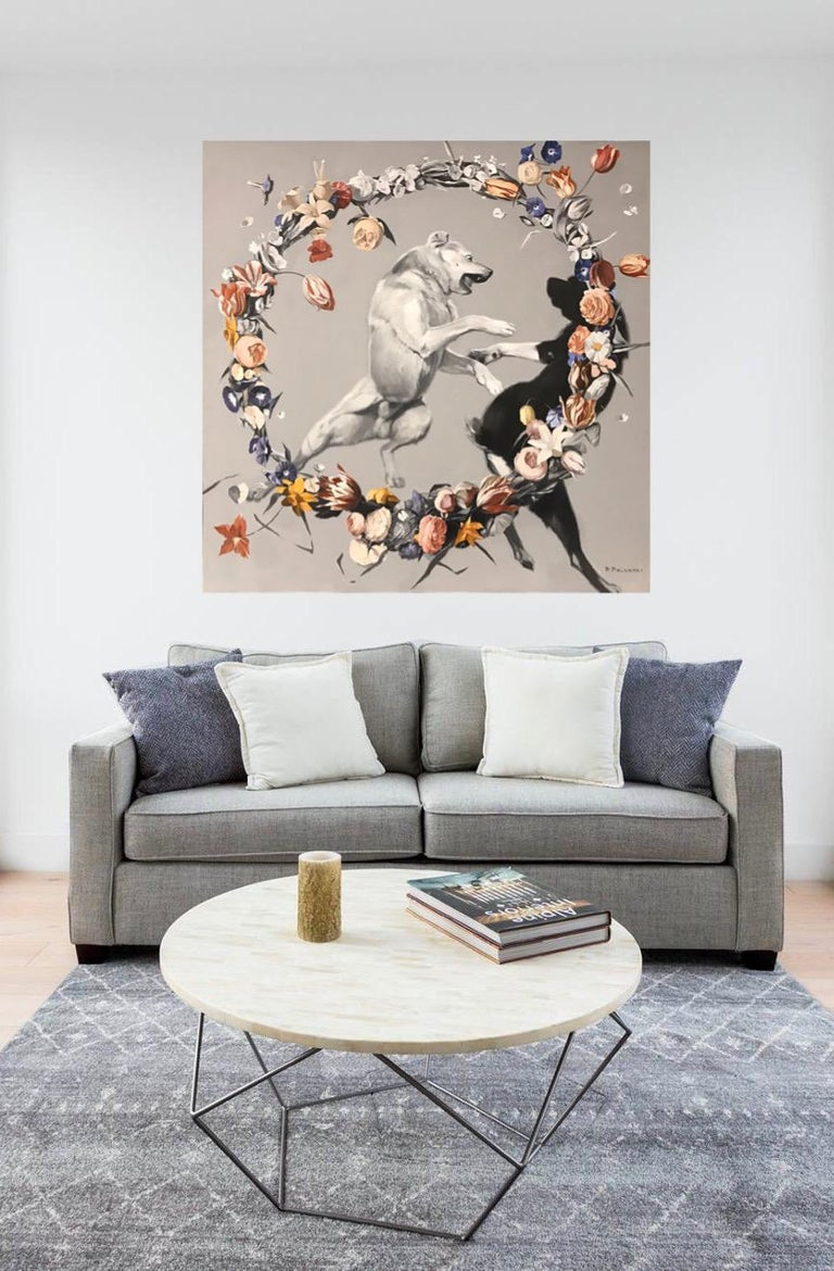 Day-dogs fighting (flowers), made in grey, red, orange, black and white color - Painting by Pavel Polanski