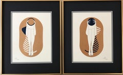 Bronze capsules - line drawing figure with deep blue disk and stripes