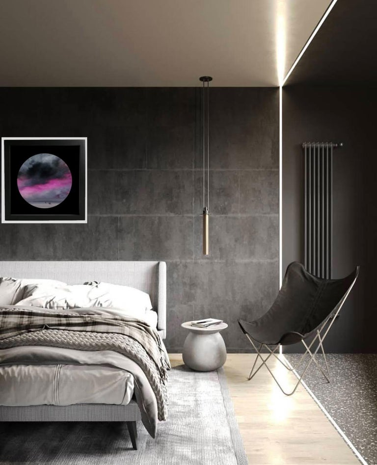 Observer clouds (circular) - landscape with pink, grey color For Sale 1