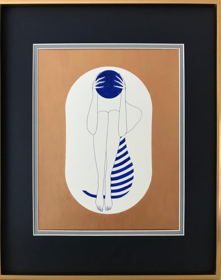 Bronze and white capsules - line drawing figure with ultramarine disk, stripes - Art by Mila Akopova