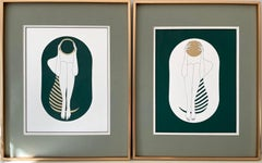 Green and white capsule - line drawing figure with gold disk and stripes