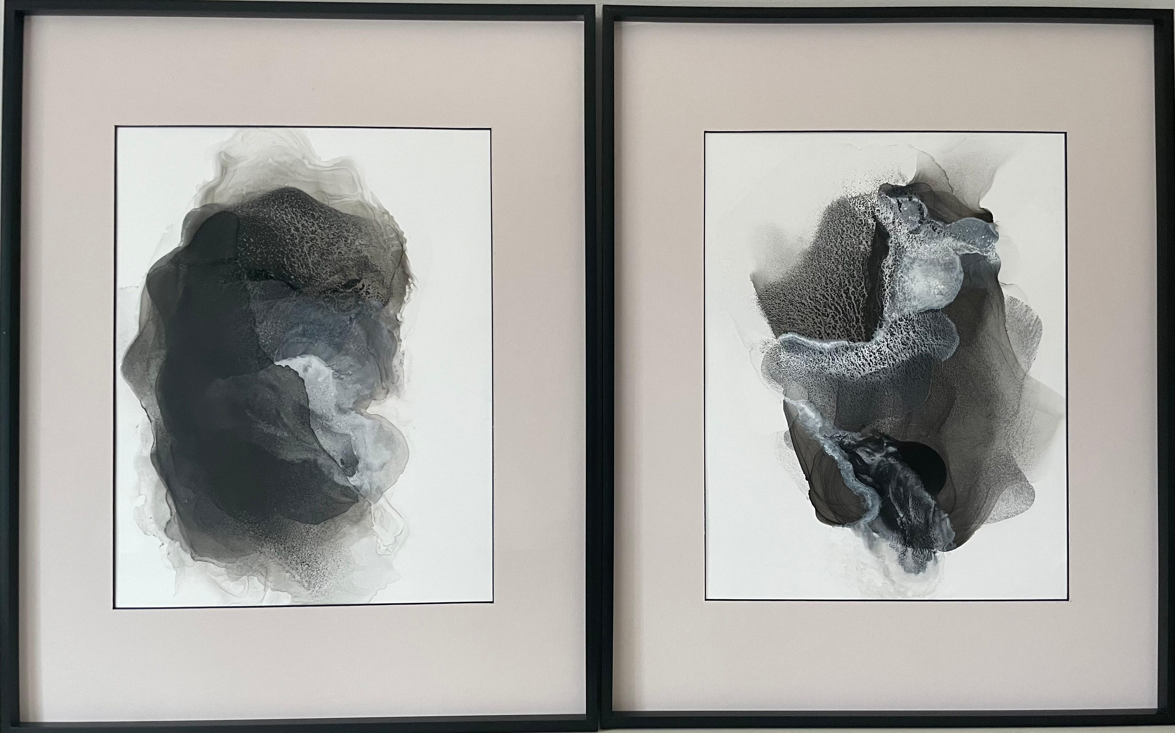 Haze II - abstract painting, made in beige, black and white color