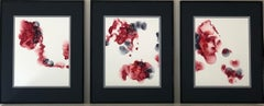 Singed roses - abstraction art, made in cherry red, garnet red, white, grey