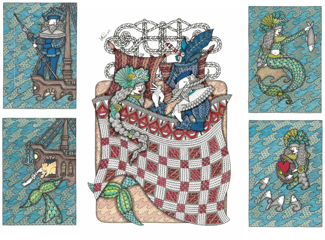 Love Story (Sailor and Mermaid) - illustrate, ornamental art, made in turquoise