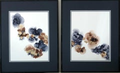 Delicacy - abstraction art, made in gold, brown, gray and navy blue