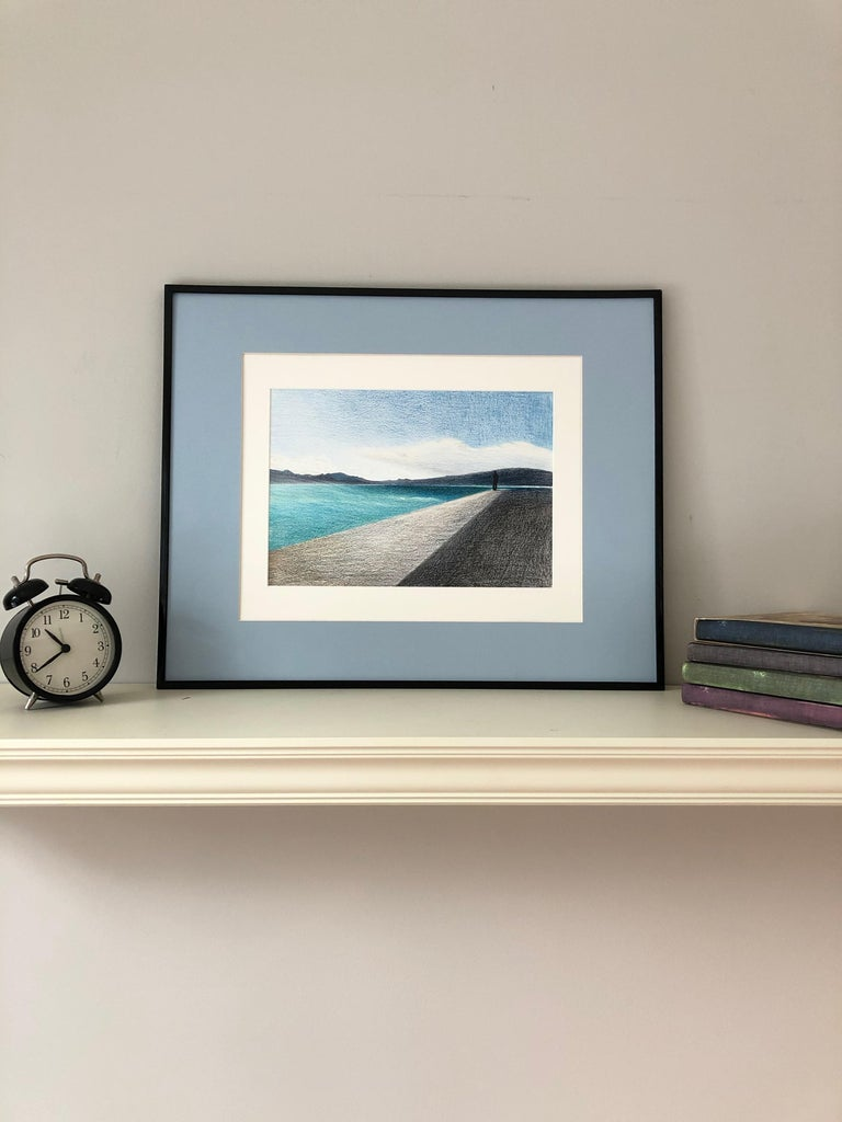 Cannes - seascape made in grey, black, blue, turquoise color - Realist Art by Evgeniya Buravleva