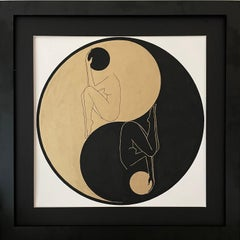 Yin and Yang - line drawing figure in a circle with gold and black disk