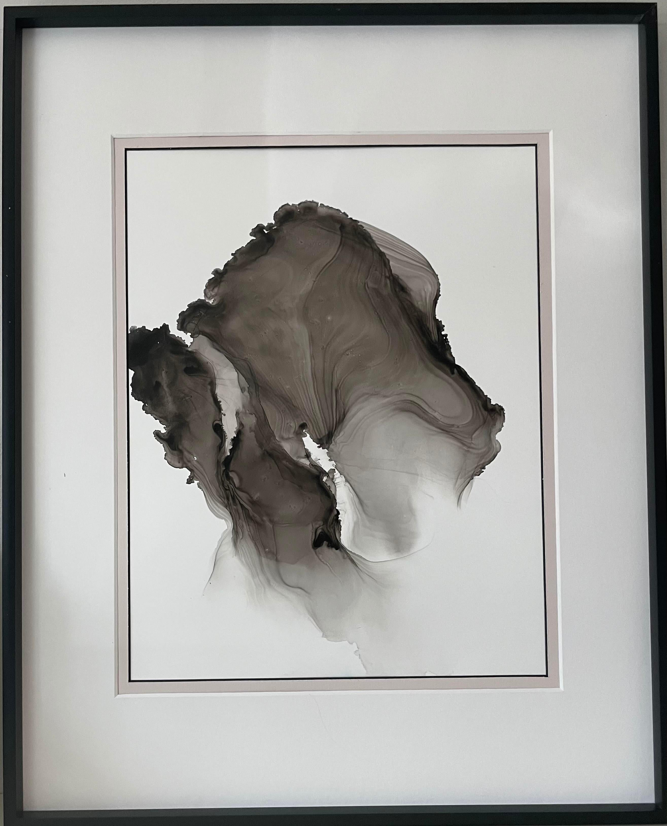 Feelings II (wave)- abstract painting, made in beige, black and white color