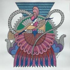 Valse - illustration, ornamental art, made in blue, pink, red, green colors