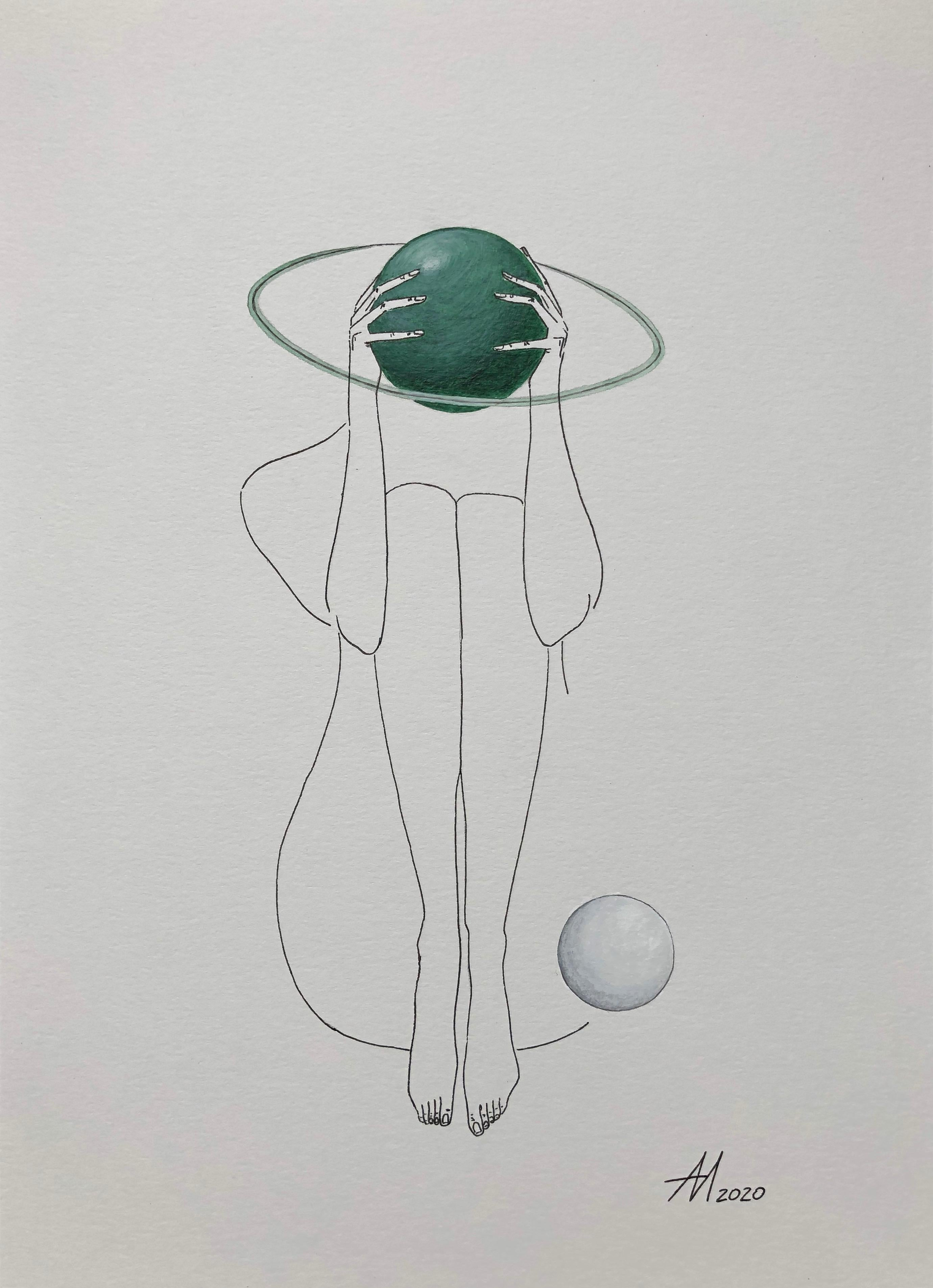 Green Saturn - line drawing woman figure with circle