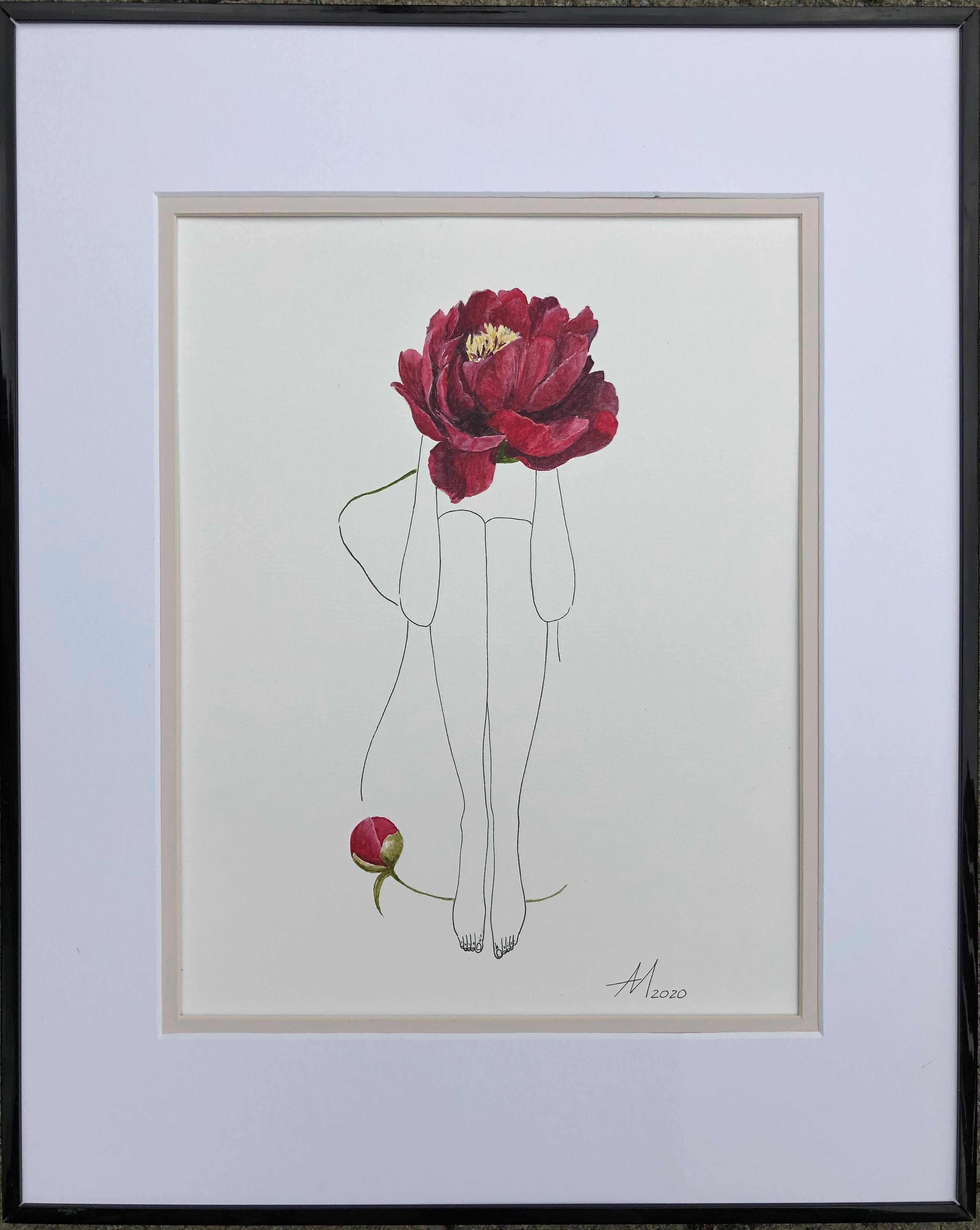 Red peony - line drawing woman figure with flower