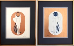 Bronze and white capsule - line drawing figure with deep blue disk and stripes