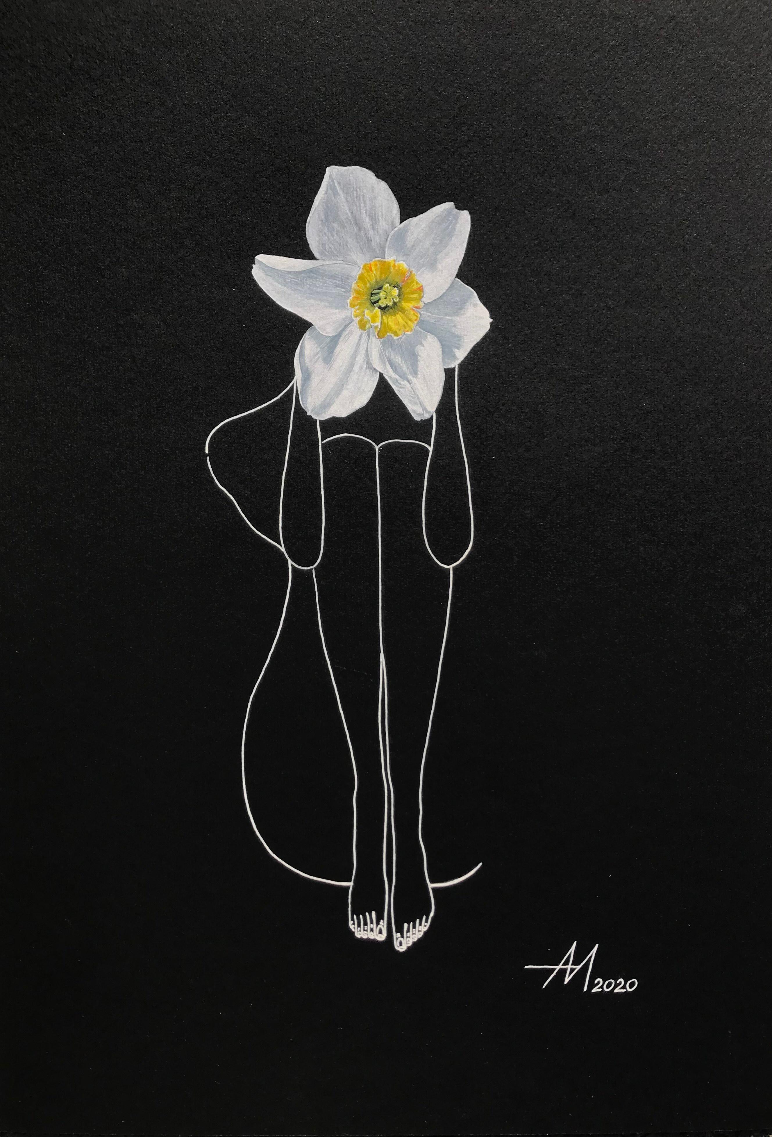 Narcissus - line drawing woman figure with flower
