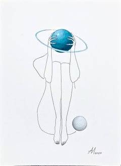 Uranus (turquoise blue planet) - line drawing woman figure with circle