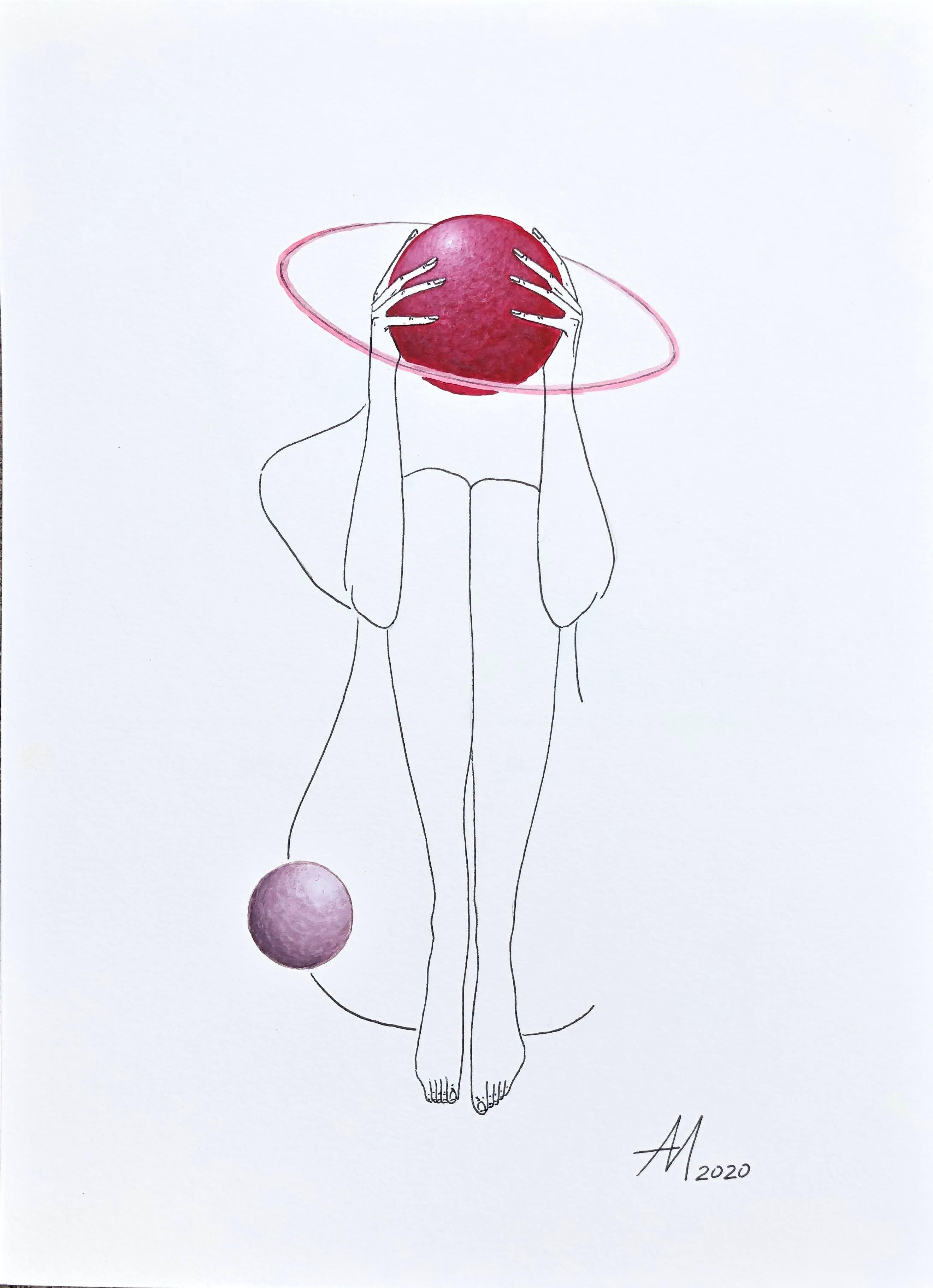 Love and dizziness (planet) - line drawing woman figure with circle