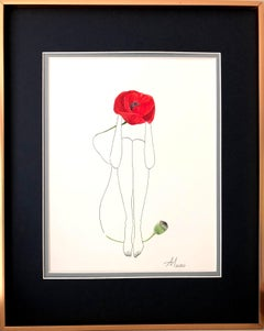 Red Poppy - line drawing woman figure with flower
