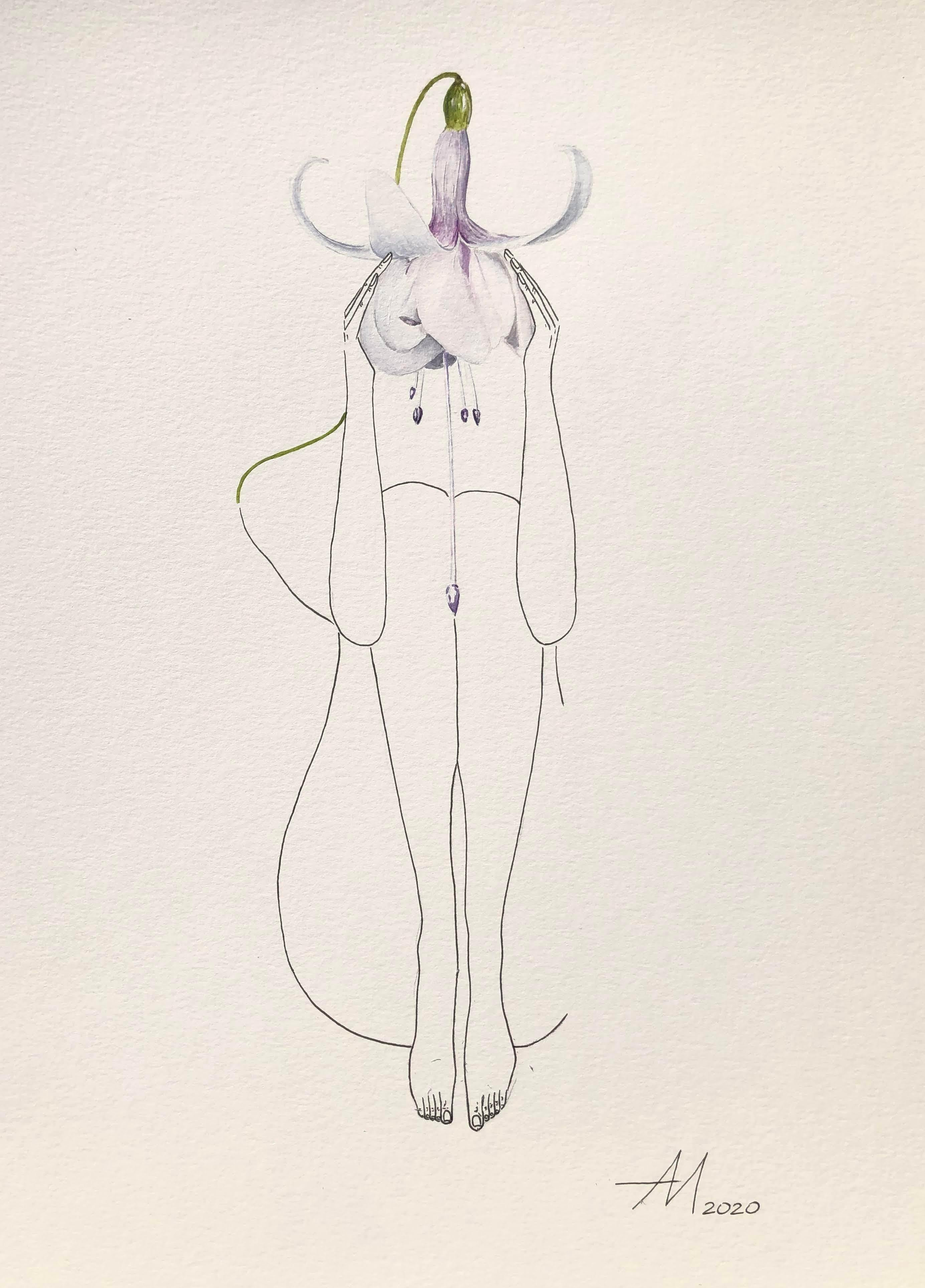 White Fuchsia (flower) - line drawing woman figure with white, purple flower