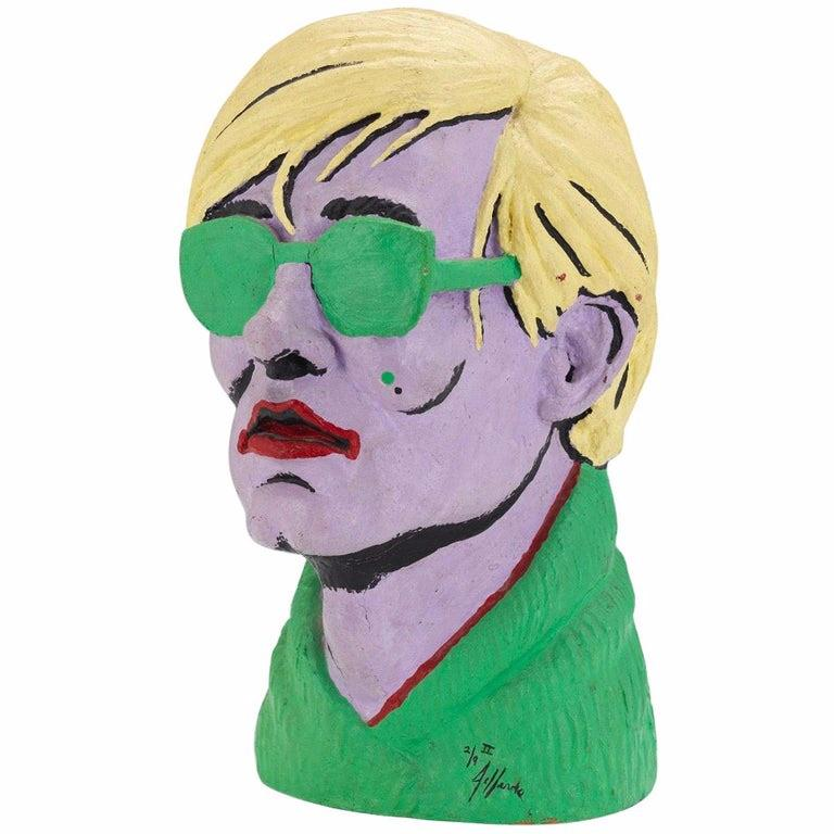 """Limited edition American polychromed rubber bust of Andy Warhol by Jefferds, 20th Century.    Signed """"Jefferds"""" and numbered 2 / 9, with the Roman numerals """"II"""".    Measures: 15"""" high x 8 ½"""" wide x 10"""" deep.    Good conditon, minor losses to paint."""