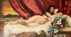 Adolf Pirsch (1858 - 1929 Austrian) Monumental Oil on Canvas of A Reclining Nude