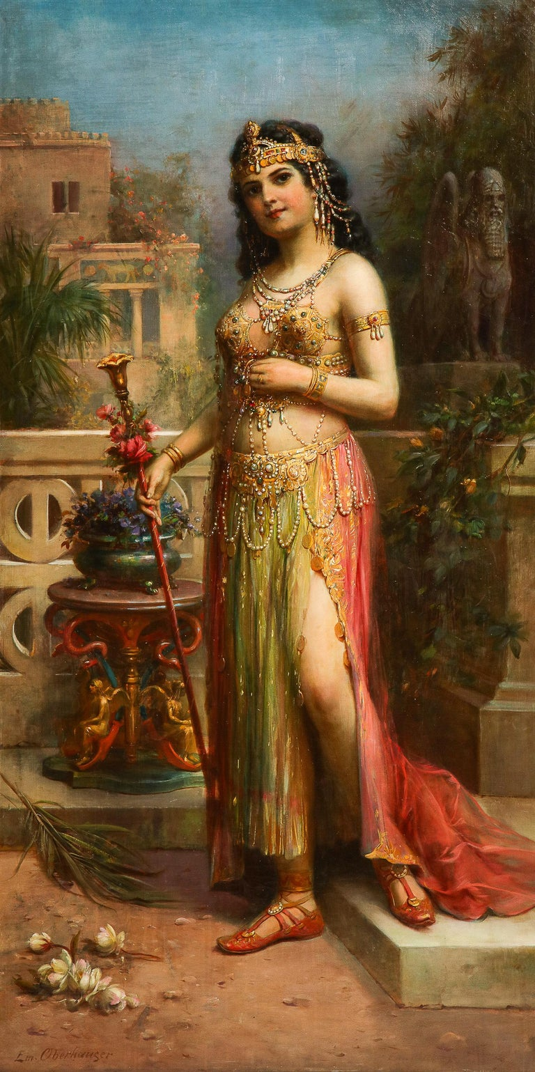 Emanuel Oberhauser (Austrian, 1854 - 1919) An Exceptional quality full length oil on canvas painting of a Young Orientalist Queen / Odalisque. 19th century, circa 1885  Masterfully painted, this artwork depicts a full length portrait of a young