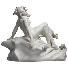 Italian White Marble Figure of a Sea Water Mermaid Nymph by Dante Zoi, 19th Cen