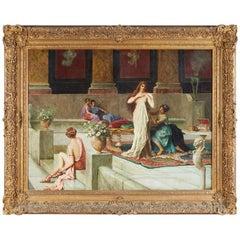 "Guglielmo Zocchi ""Harem Scene"" Orientalist Oil Painting"