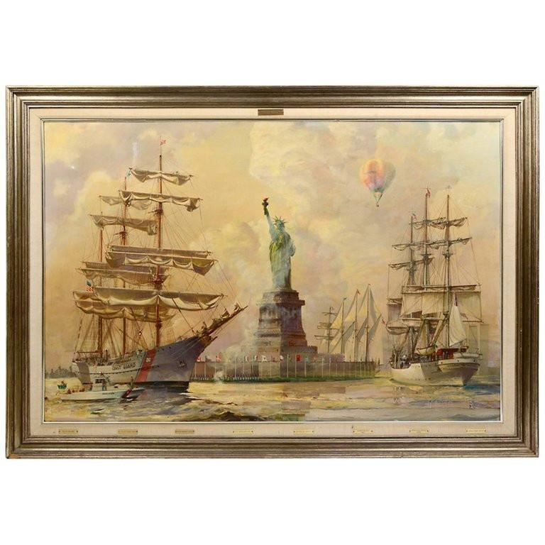 Kipp Soldwedel Operation Statue of Liberty Oil Painting - Brown Landscape Painting by Kipp Soldwedel