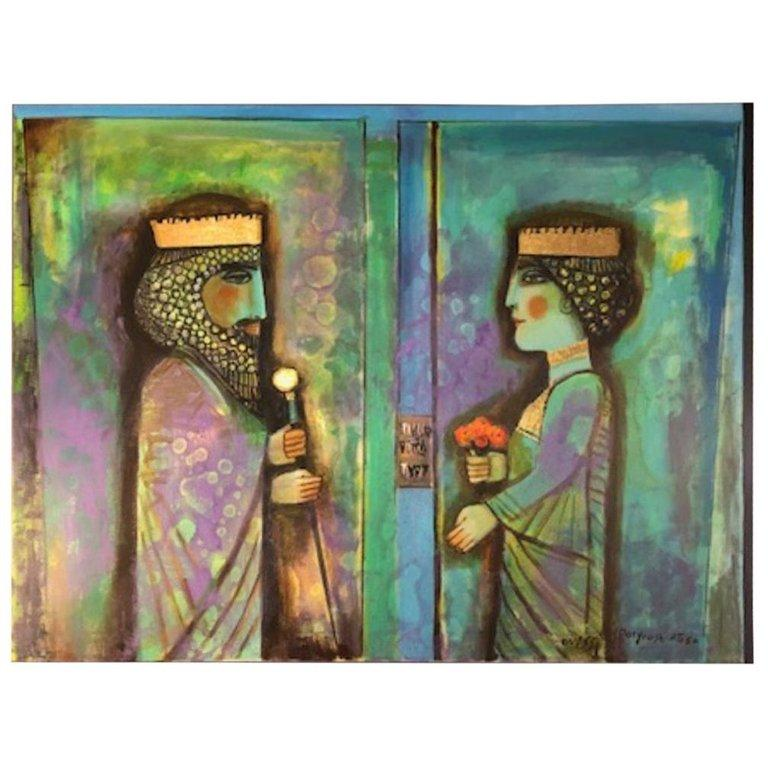"Nasser Ovissi, (Iranian, Born 1934) ""Darius and Atossa"" Oil on Canvas Painting - Gray Portrait Painting by Nasser Ovissi"