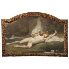 "Jules-Louis Machard (French 1839–1900) ""Dream of Eros"" Exceptional Oil Painting"