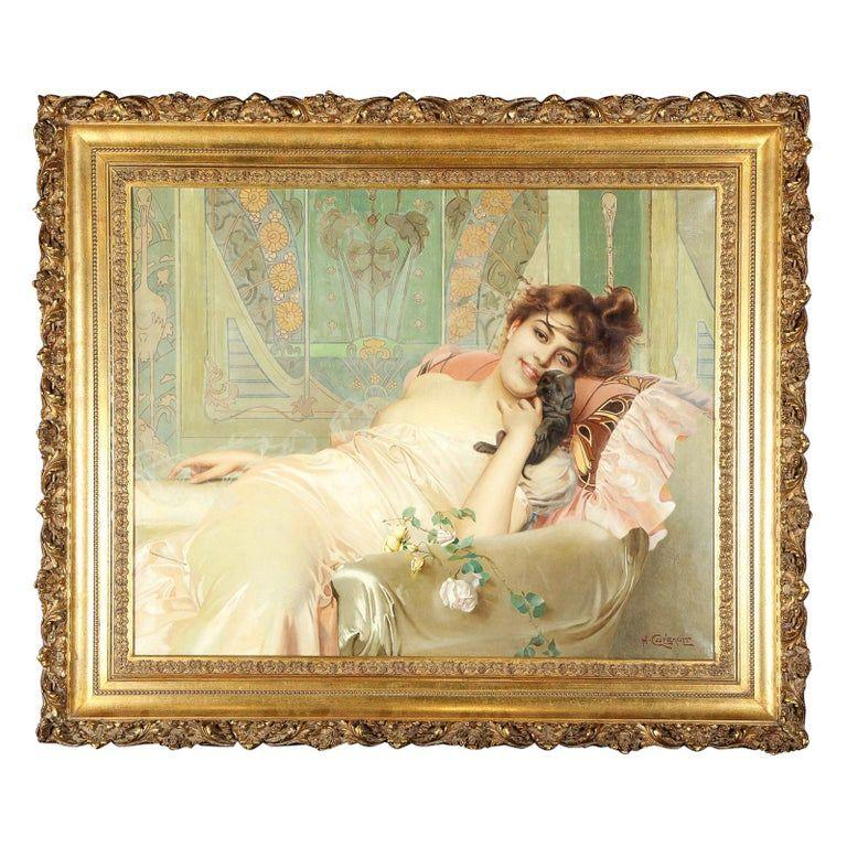 H. Cuerault Portrait Painting - Exceptional French Art Nouveau Oil on Canvas Painting of an Elegant Lady and Pup