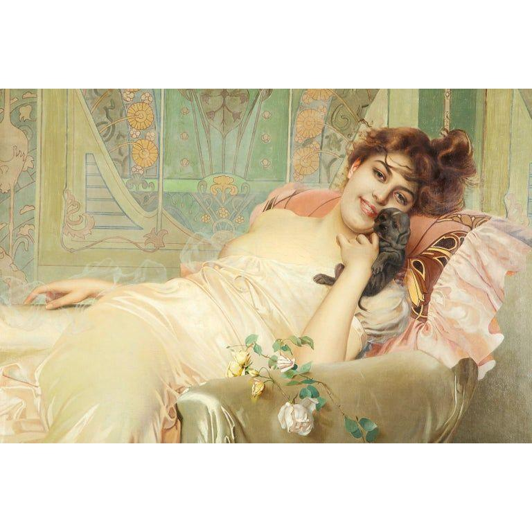 Exceptional French Art Nouveau Oil on Canvas Painting of an Elegant Lady and Pup - Beige Portrait Painting by H. Cuerault