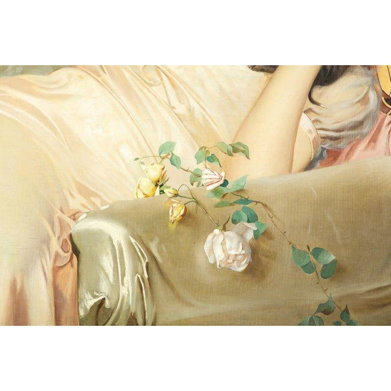 Exceptional French Art Nouveau Oil on Canvas Painting of an Elegant Lady and Pup For Sale 1