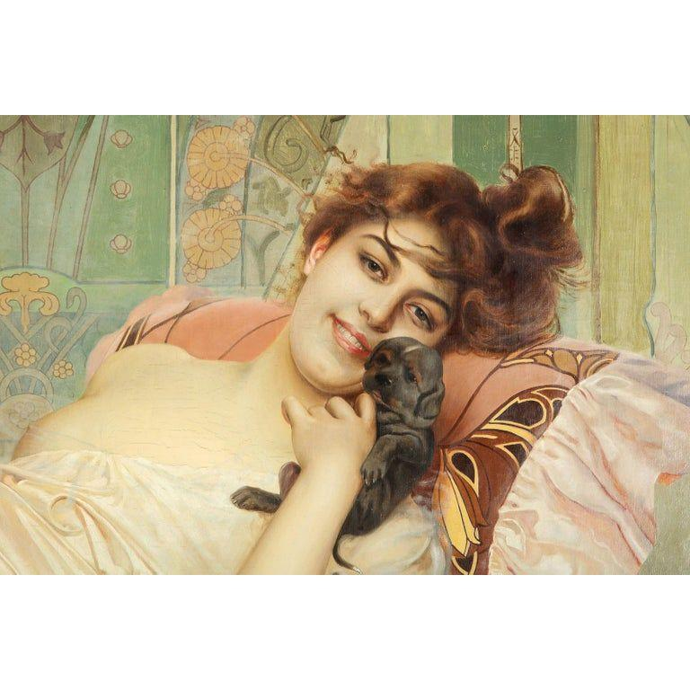 Exceptional French Art Nouveau Oil on Canvas Painting of an Elegant Lady and Pup For Sale 2