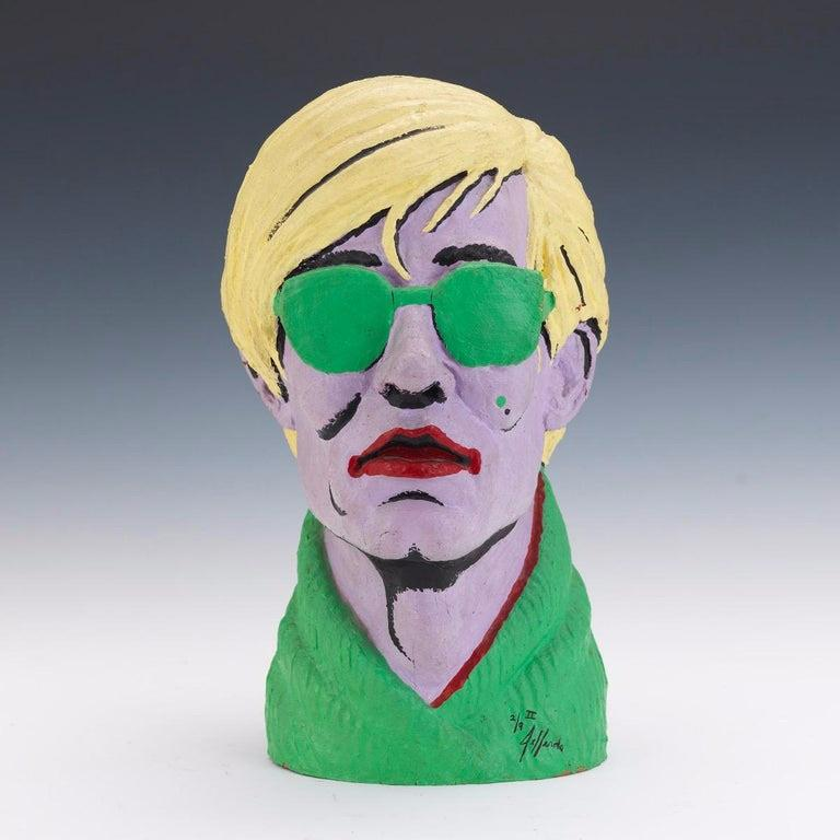 Limited Edition American Polychromed Rubber Bust of Andy Warhol by Jefferds For Sale 1