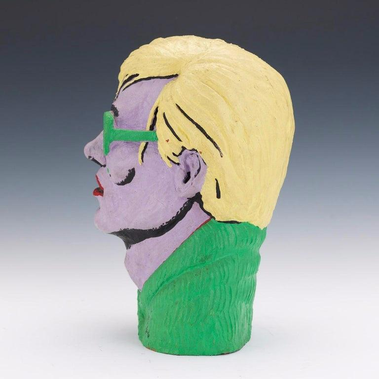 Limited Edition American Polychromed Rubber Bust of Andy Warhol by Jefferds For Sale 2