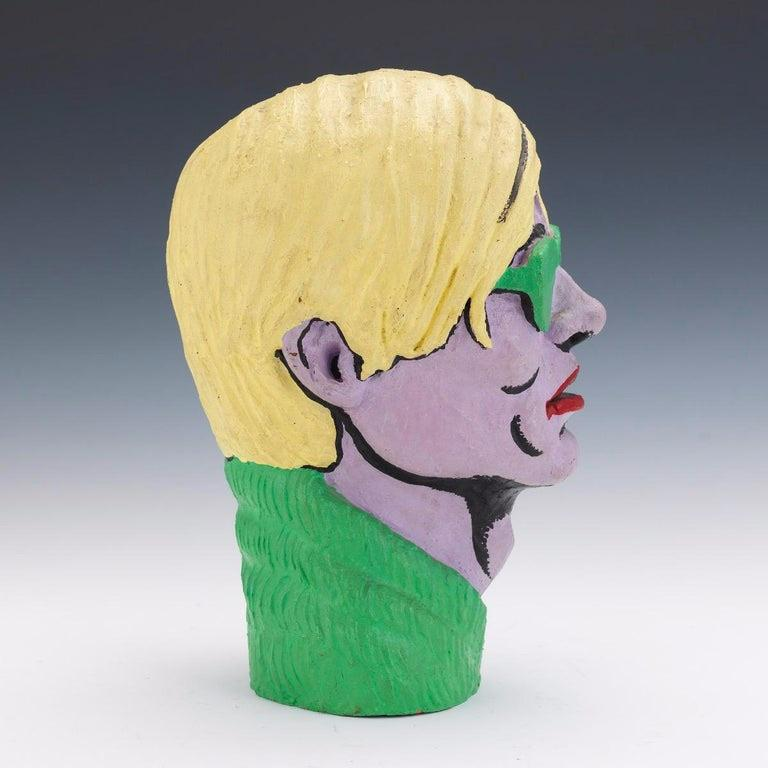 Limited Edition American Polychromed Rubber Bust of Andy Warhol by Jefferds For Sale 3