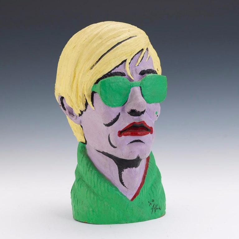 Limited Edition American Polychromed Rubber Bust of Andy Warhol by Jefferds For Sale 4