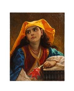 Jean Francois Portaels, (Belgian 1818 - 1895) Orientalist Beauty Oil on Canvas