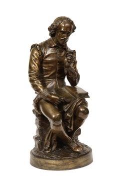 Jean Jules B. Salmson Bronze Sculpture of William Shakespeare Seated with Books