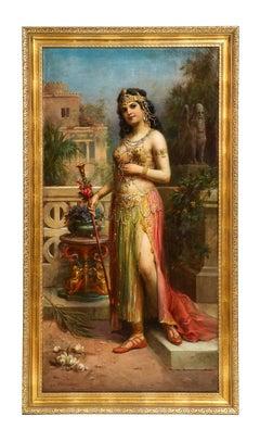 """Emanuel Oberhauser (Austrian, 1854 - 1919) Full Length """"Orientalist Queen"""" Oil"""