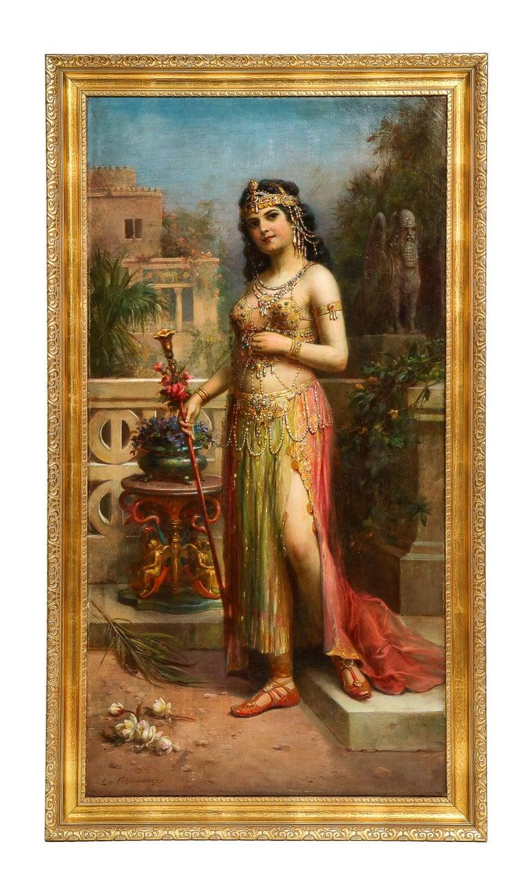 "Emanuel Oberhauser (Austrian, 1854 - 1919) Full Length ""Orientalist Queen"" Oil - Painting by Emanuel Oberhauser"