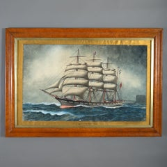 19th Century Victorian Period Watercolour of a Ship - Signed JW Holmes