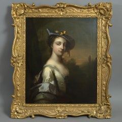 18th Century Oil on Canvas Frans van der Mijn  Portrait of a Lady as Shepherdess