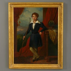 Giorgio Berti (1794-1863) 19th Century Portrait of a Boy with Long Bow